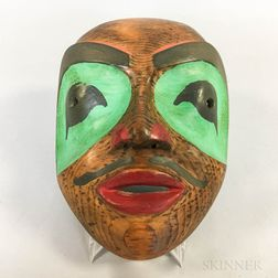 Polychrome Carved Wood Mask