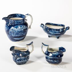 "Four Staffordshire Historical Blue Transfer-decorated ""Landing of Lafayette"" Table Items"