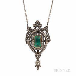 Antique Emerald and Diamond Pendant