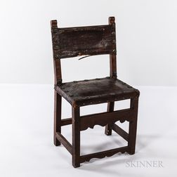 Renaissance-style Embossed Leather Side Chair