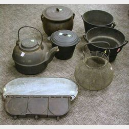 Eight Cast Iron, Wire, and Stone Hearth and Kitchen Items