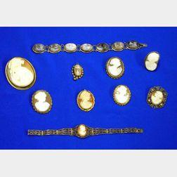 Ten Cameo Jewelry Items