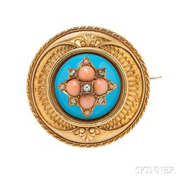 Victorian Gold, Coral, Diamond, and Enamel Brooch