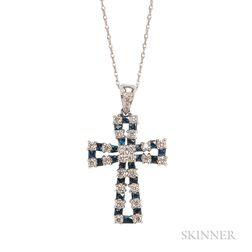 14kt White Gold, Sapphire, and Diamond Cross with Chain