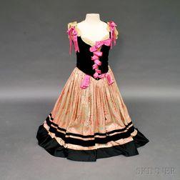 Leon Bakst Velvet and Satin Lady's Dance Costume