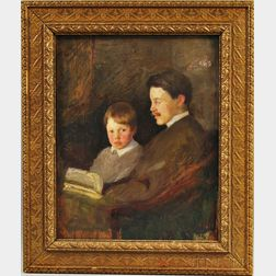Attributed to Gardner Cox (American, 1906-1988)      Father and Son Sharing a Story