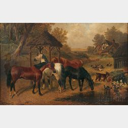 Attributed to John Frederick Herring Jr. (British, 1815-1907)      Horses Watering at a Farmyard Pool
