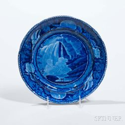 Staffordshire Historical Blue Transfer-decorated Table Rock Niagara Plate
