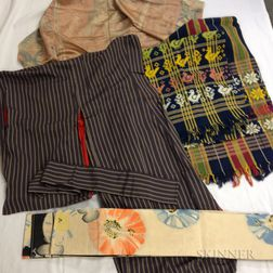 Group of Textiles including Kimono and Obi Sash