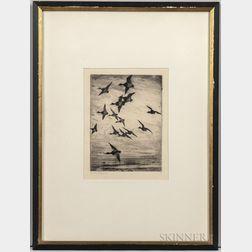 Frank Weston Benson (American, 1862-1951)      High-Flying Ducks