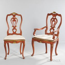 Eight Venetian Rococo-style Gilded and Red Painted Dining Chairs