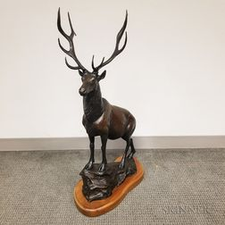Large Forest Hart (American, Late 20th Century) Bronze Sculpture Elk Ridge