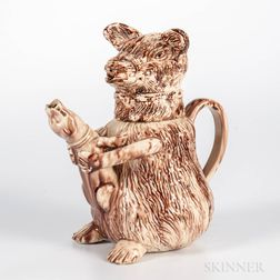 Staffordshire Creamware Bear-baiting Jug and Cover