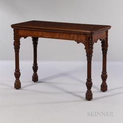Victorian Oak and Pollard Oak-veneered Card Table