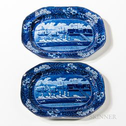 "Two Staffordshire Historical Blue Transfer-decorated ""Landing of Lafayette"" Platters"