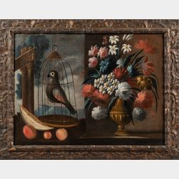 Dutch School, 17th Century Style      Two Still Life Paintings with Flowers, Fruits, and Birds