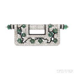 Art Deco Platinum, Diamond, Emerald, and Enamel Brooch, Charlton & Co.