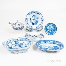 Ten Pieces of Blue and White Transfer Tableware