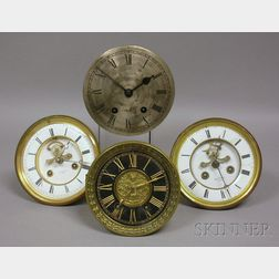 Four French Clock Dials and Movements