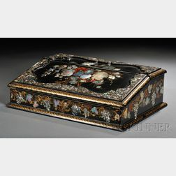 Victorian Mother-of-pearl-inlaid Black Lacquer Lap Desk