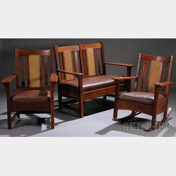 Limbert Three-piece Ebon-Oak Parlor Set: Settee, Armchair, and Rocker