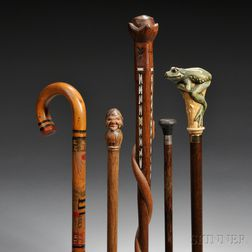 Six Wooden Walking Sticks, a Beaver Pelt Hat, and a Graphite and Watercolor Drawing