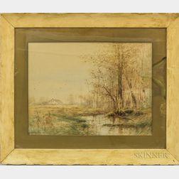 Dubois Hasbrouck (New York, 1860-1934)    Autumn Landscape with Cottage