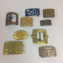 Group of Brass and Silver Belt Buckles