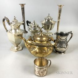 Eight Pieces of Mostly Sterling Silver Tableware
