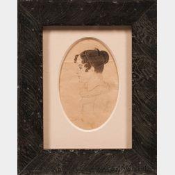 American School, Mid-19th Century      Miniature Portrait of Anna Bunker, Moultonborough, New Hampshire