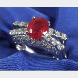 18kt White Gold, Diamond and Red-stone Ring.