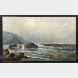 Otis Webber (American, 19th Century)    Coastal Rocks
