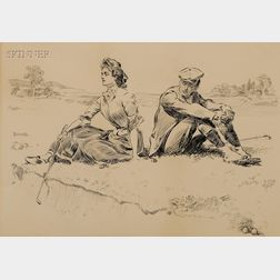 Charles Dana Gibson (American, 1867-1944)      A Rest by the Sand Trap