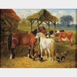 John Frederick Herring, Jr. (British, 1815-1907)      Horses in a Farmyard