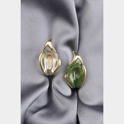 18kt Gold, Nephrite, and Rock Crystal Earclips, Elsa Peretti, Tiffany & Co.
