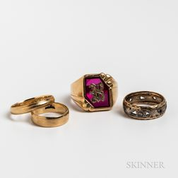 Four 14kt Gold Rings