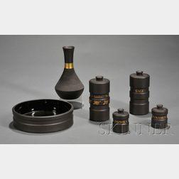Six Modern Wedgwood Black Basalt Items