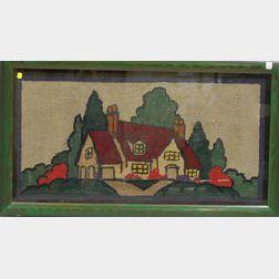 Framed Hooked Rug Depicting Cottage in a Landscape