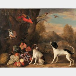 Dutch School, 17th Century Style      Landscape with Exotic Birds and Two Terriers