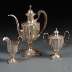 """Three-piece Towle """"Paul Revere Reproduction"""" Sterling Silver Coffee Service"""