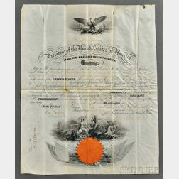 Pierce, Franklin (1804-1869) Signed Military Commission, 12 February 1856.