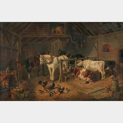 Attributed to John Frederick Herring Jr. (British, 1815-1907)      Stable Interior with Cattle, Horses, and Chickens