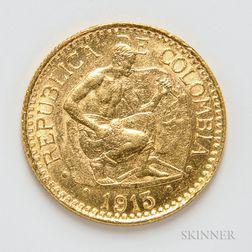 1913 Columbian 5 Pesos Gold Coin, KM195.1