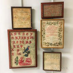 Five Framed Needlework Samplers