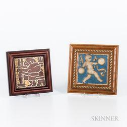Two Framed Grueby Faience Tiles