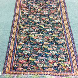Bidjar Kilim with Rainbow Silk Foundation