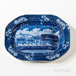 "Staffordshire Historical Blue Transfer-decorated ""Landing of Lafayette"" Serving Platter"