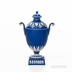 Wedgwood Dark Blue Jasper Dip Vase and Cover