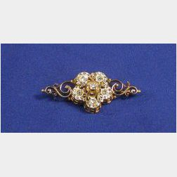 Antique 14kt Gold and Diamond Brooch