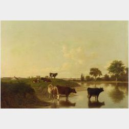 Thomas Hewes Hinckley (American, 1813-1896)  Cattle Watering